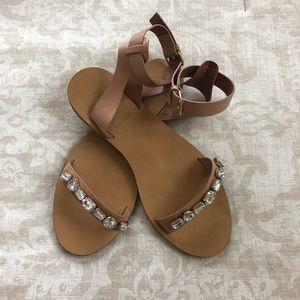 J. Crew Jeweled Leather Flat Sandals